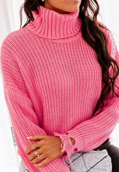 Sweter Pleciony z Frędzlami Różowy Merisa