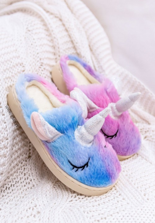 Fioletowe Dziecięce Kapcie Jednorożec Unicorn Kids