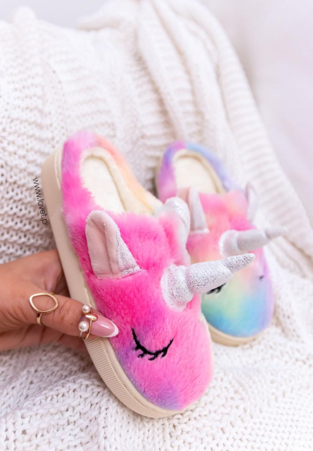 Ciemno Różowe Dziecięce Kapcie Jednorożec Unicorn Kids