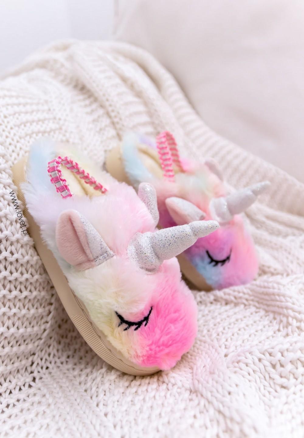Różowe Dziecięce Kapcie Jednorożec Unicorn Kids