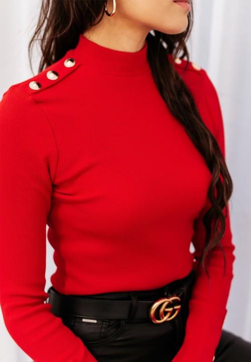 Bluzka Prążkowana z Guzikami Czerwona Silca