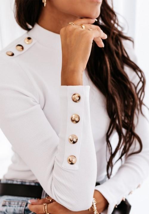 Bluzka Prążkowana z Guzikami Biała Silca