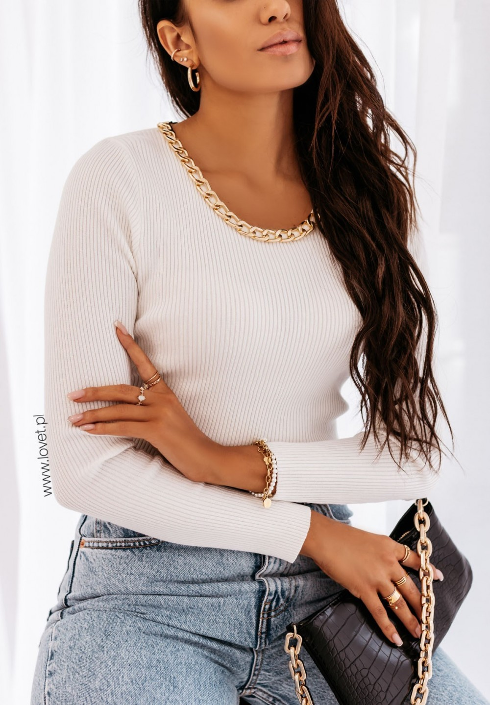 Sweter z Łańcuszkiem Kremowy Inger