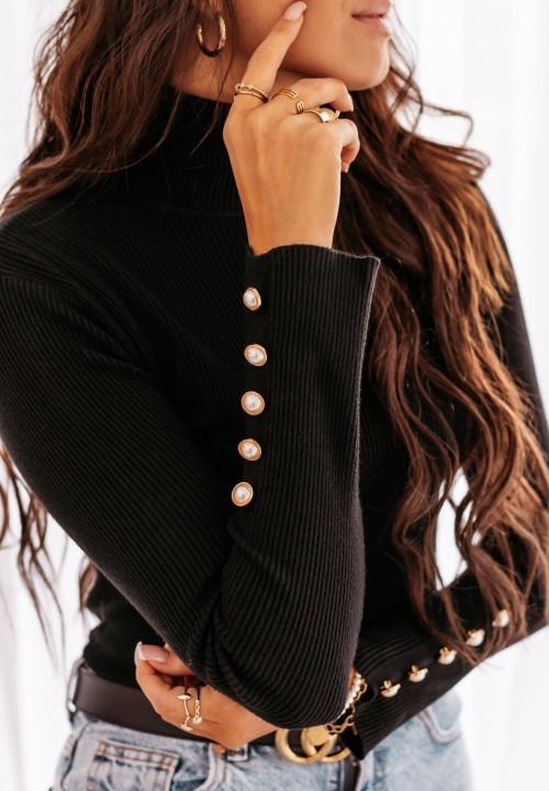 Sweter Prążkowany Czarny Silje