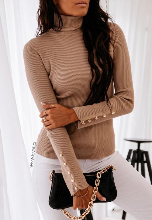 Sweter Prążkowany Beżowy Silje