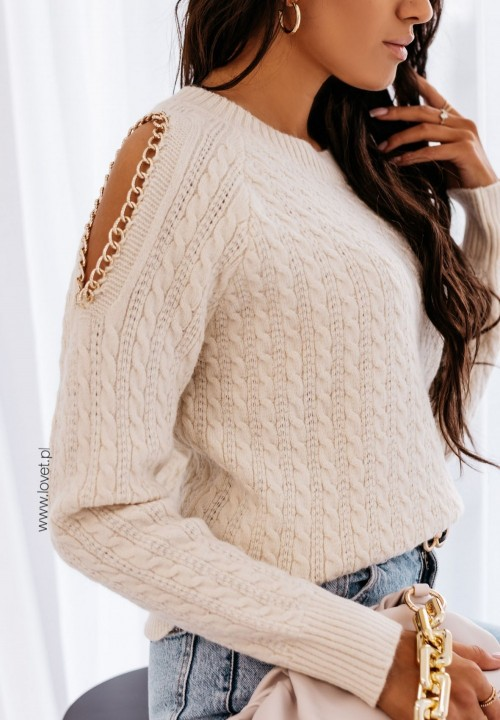 Sweterek Pleciony Kremowy Hilde