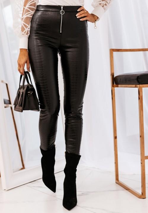 Spodnie Skórzane Czarne Elene