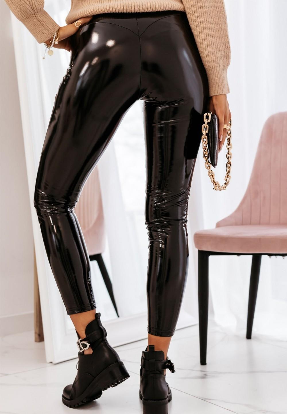 Spodnie Lateksowe Czarne Luxia