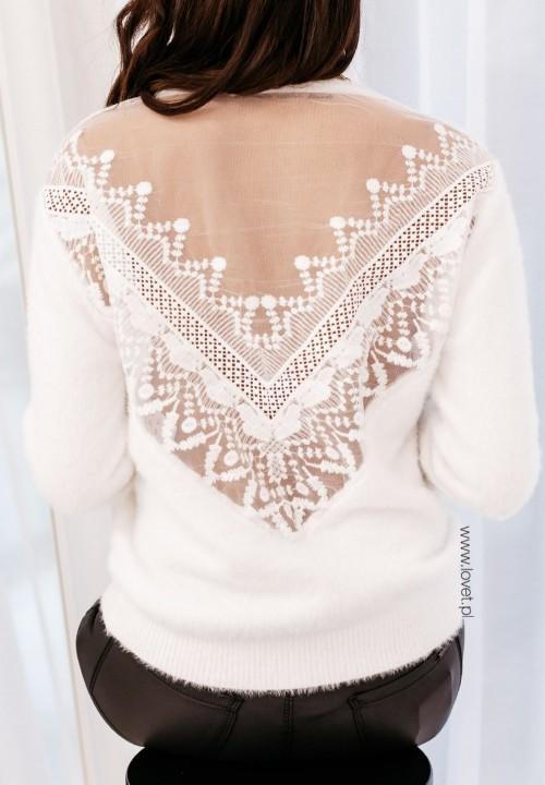 Sweter z Koronką Biały Leonora