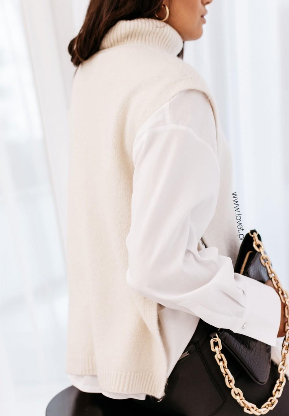 Sweter Bez Rękawów Beżowy Blanche
