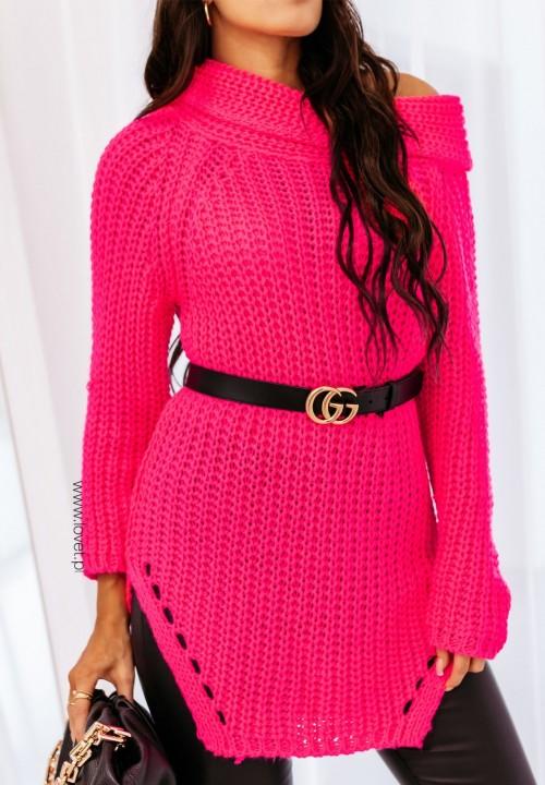 Sweter z Golfem Długi Neonowy Róż Amora