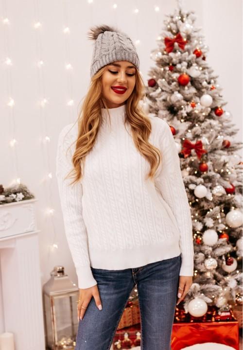 Sweter Pleciony Kremowy Shana