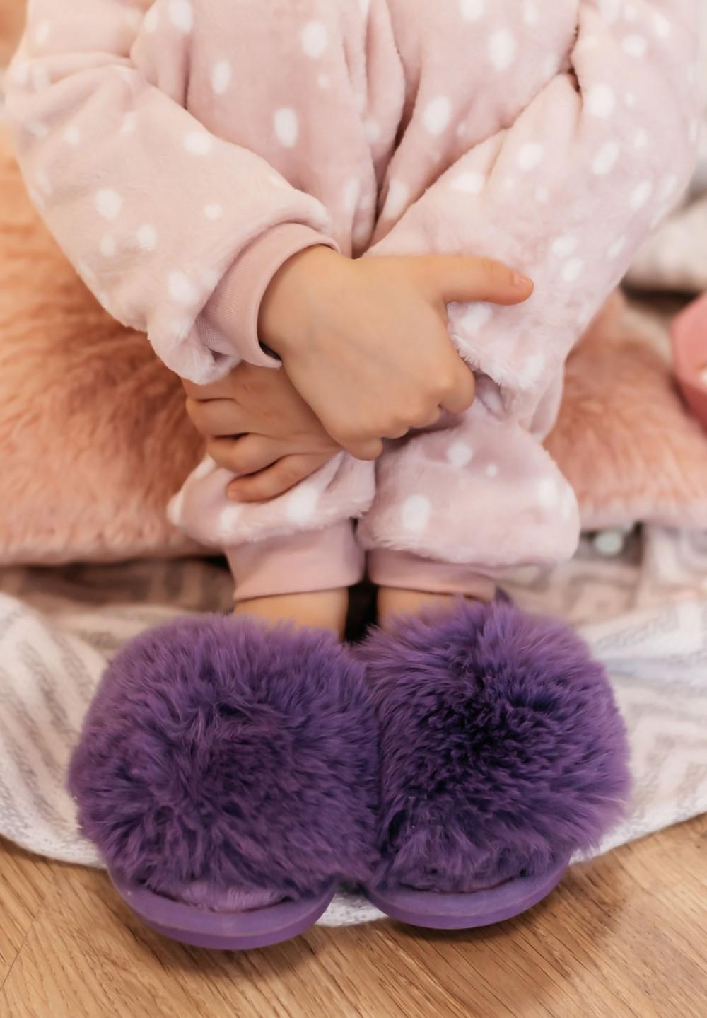Kapcie Dziecięce z Puszkiem Fioletowe Puffy Kids