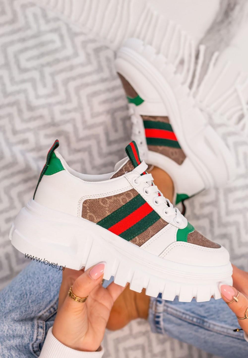 Trampki Sneakersy we Wzory Khaki Savio