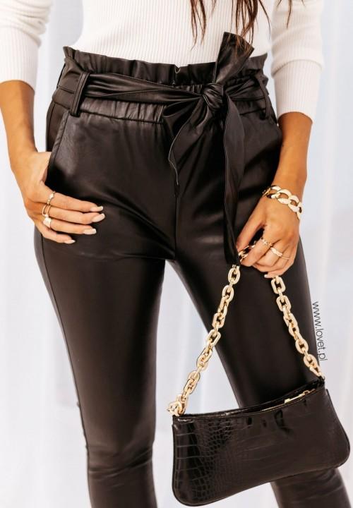 Spodnie Skórzane Wysoki Stan Czarne Keys
