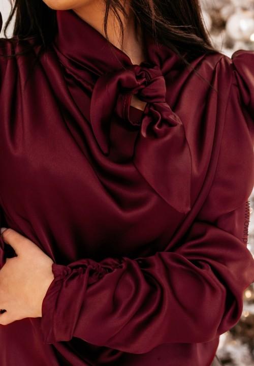 Bluzka Atłasowa Bordowa Verse