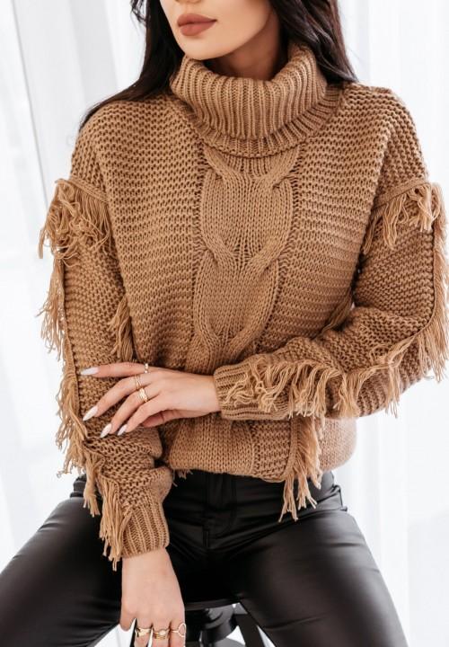 Sweter z Frędzlami Brązowy Amira