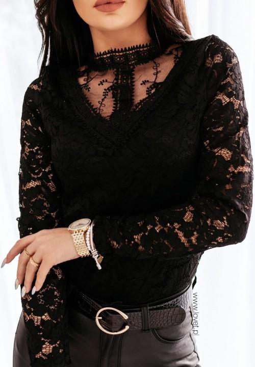 Bluzka Koronkowa Czarna Libra