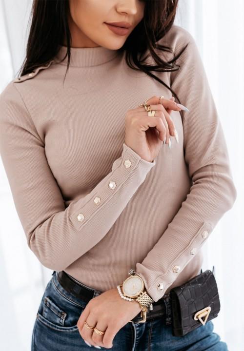 Bluzka Prążkowana z Guzikami Beżowa Doren