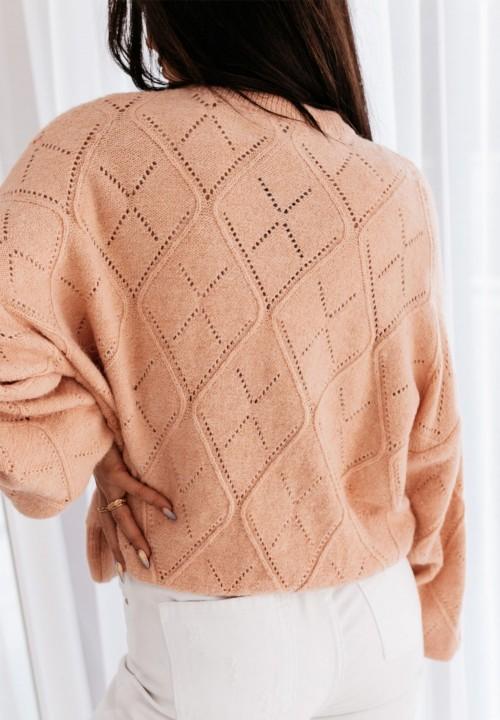 Sweter Zdobiony Cyrkoniami Różowy Sibilia