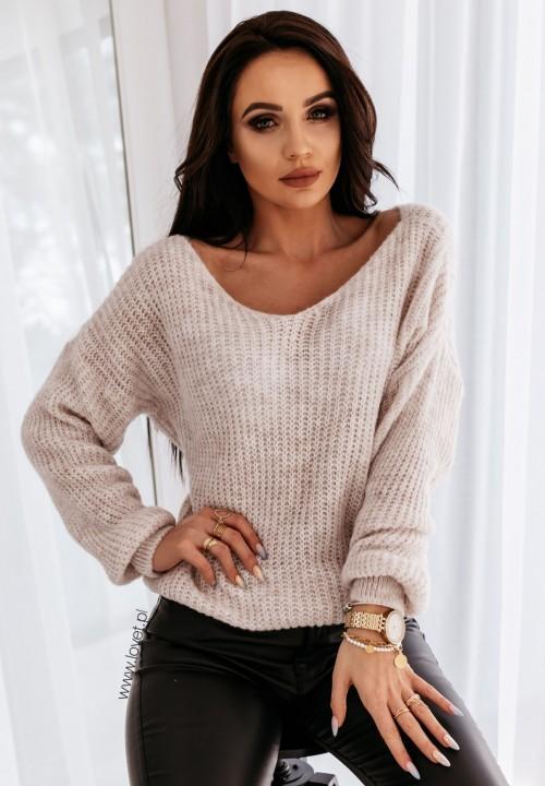 Sweter Pleciony Beżowy Catena