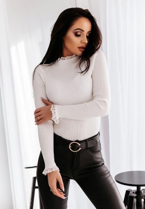 Sweter z Koronką Kremowy Heidi