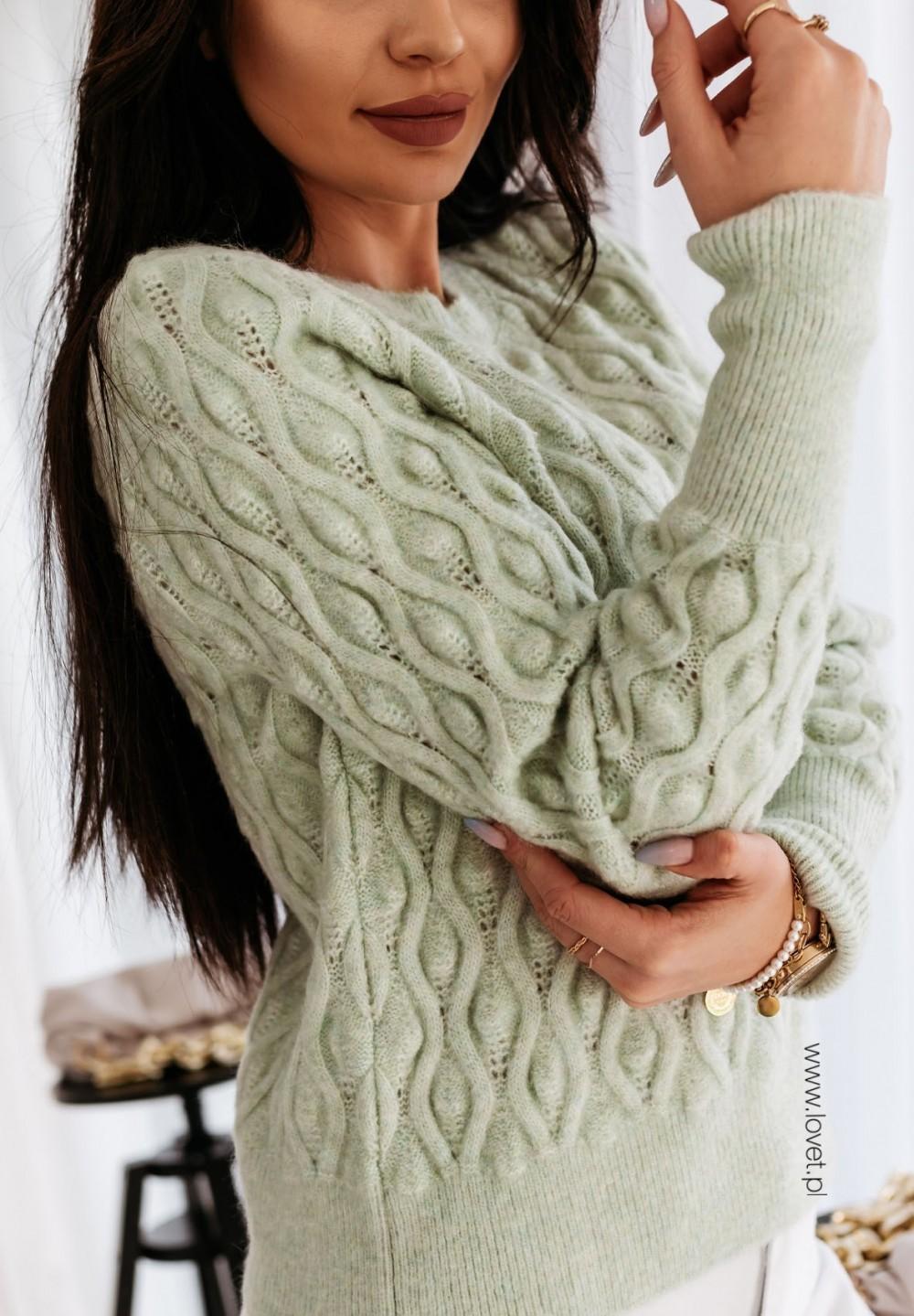Sweter Tłoczony Zielony Dillon