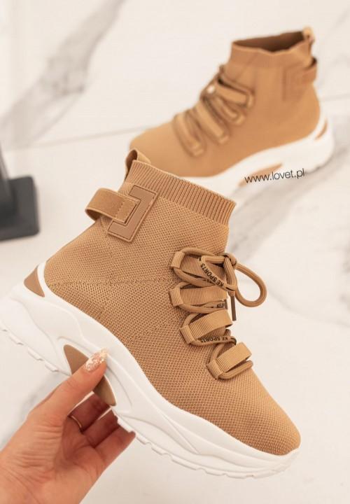 Trampki Sneakersy Elastyczna Cholewka Khaki Colis