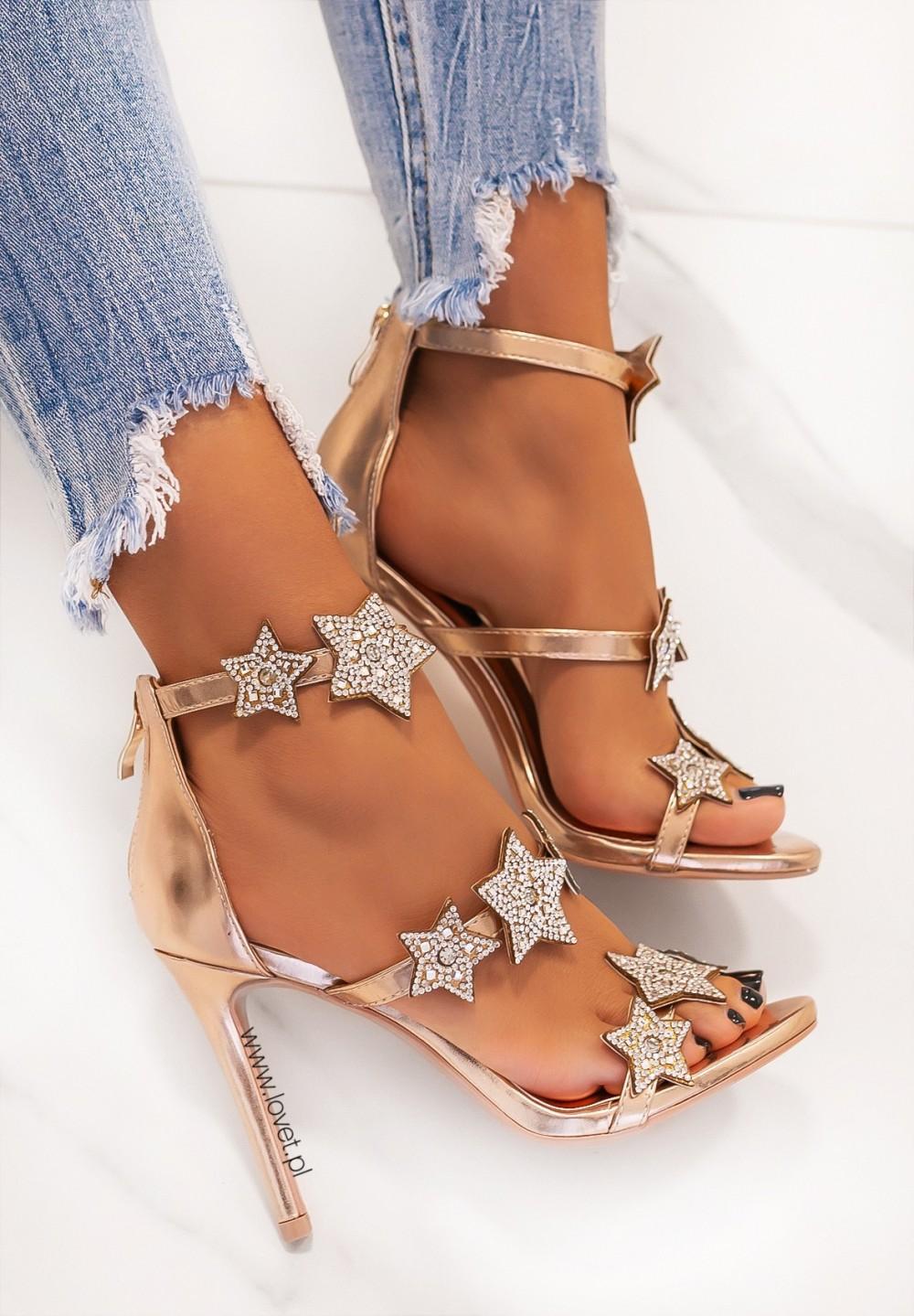 Sandałki na Szpilce z Gwiazdkami Różowe Złoto Glossi