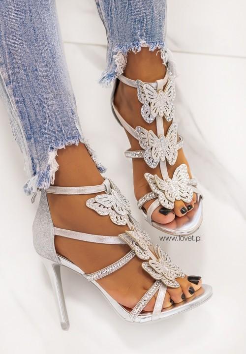 Sandałki na Szpilce z Motylkami Srebrne Jenise