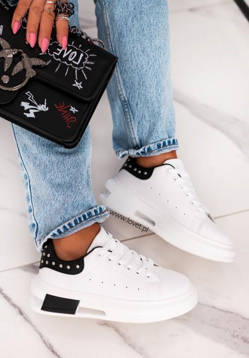 Trampki Sneakersy z Nitami Czarno Białe Famous