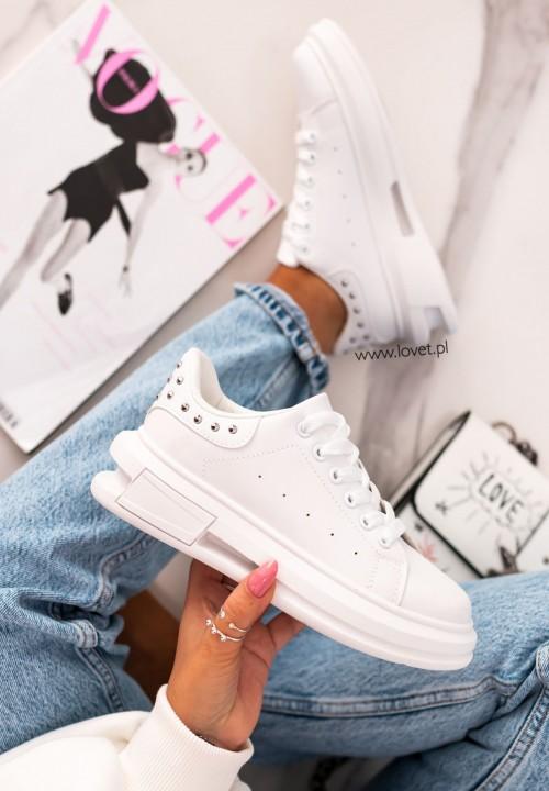Trampki Sneakersy z Nitami  Białe Famous