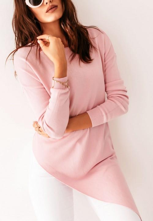 Sweter Asymetryczny Różowy Lerine