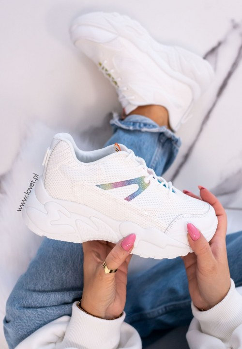 Trampki Sneakersy Brokatowe Białe Olena