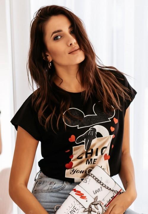 T-shirt Czarny z Myszką Mickey