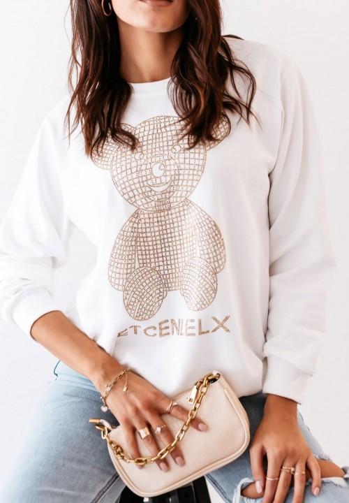 Bluza Biała ze Złotym Misiem Tedi