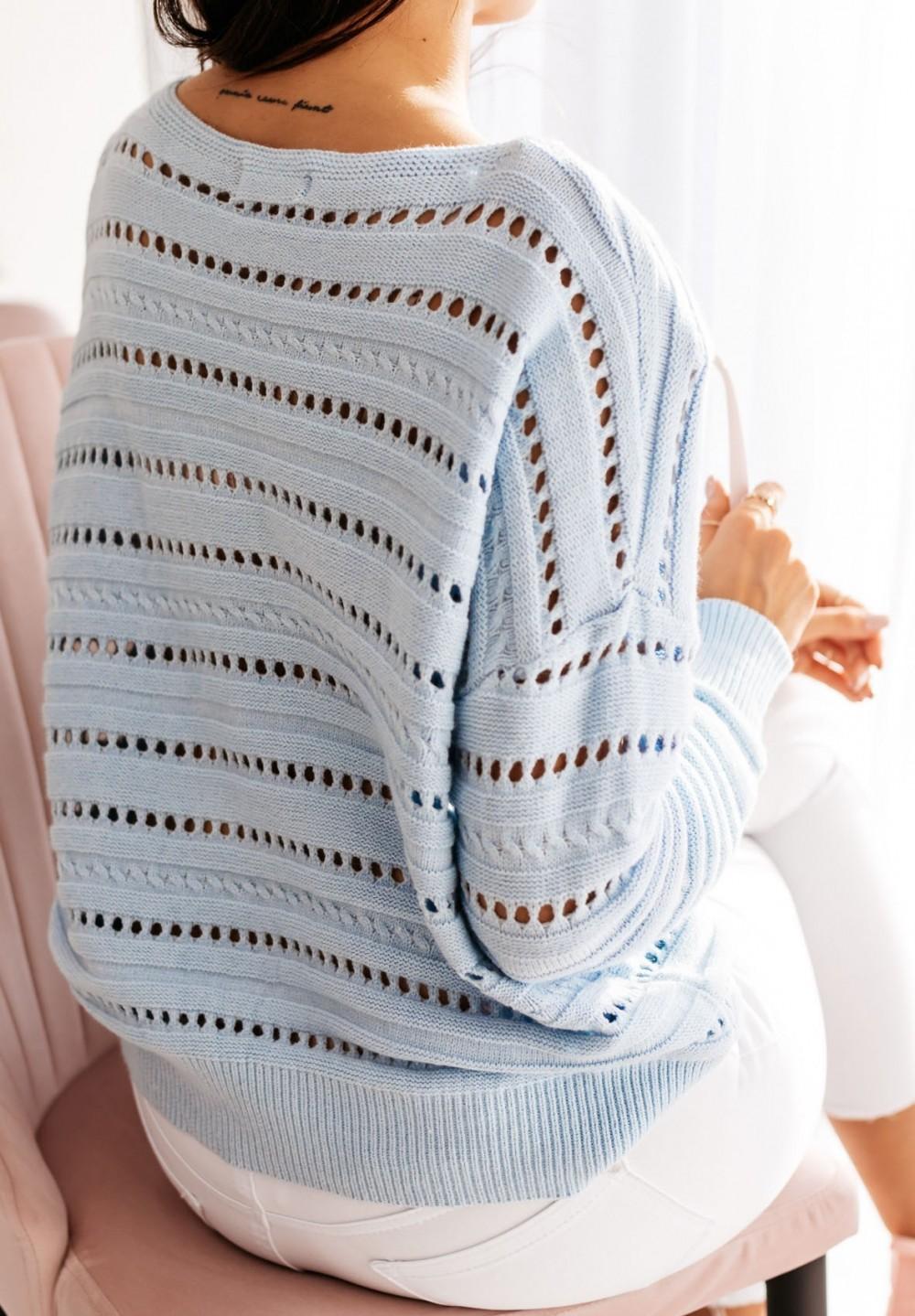 Sweter Ażurowy Błękitny Destine