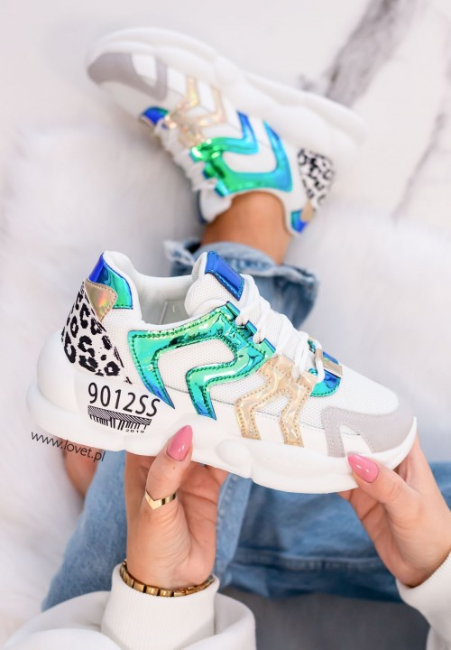 Trampki Sneakersy z Panterką Niebieskie Beres