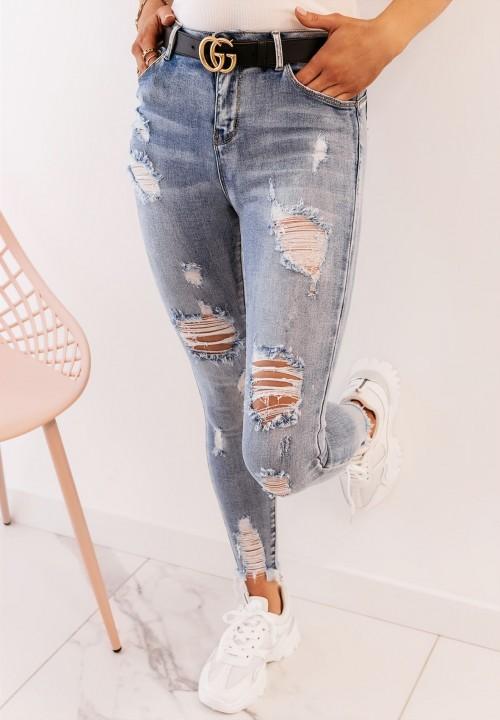 Spodnie Jeansy z Przetarciami Ledina