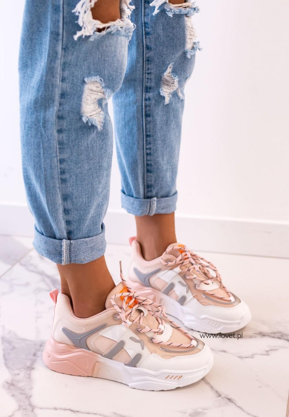 Trampki Sneakersy Biało-Różowe Famme