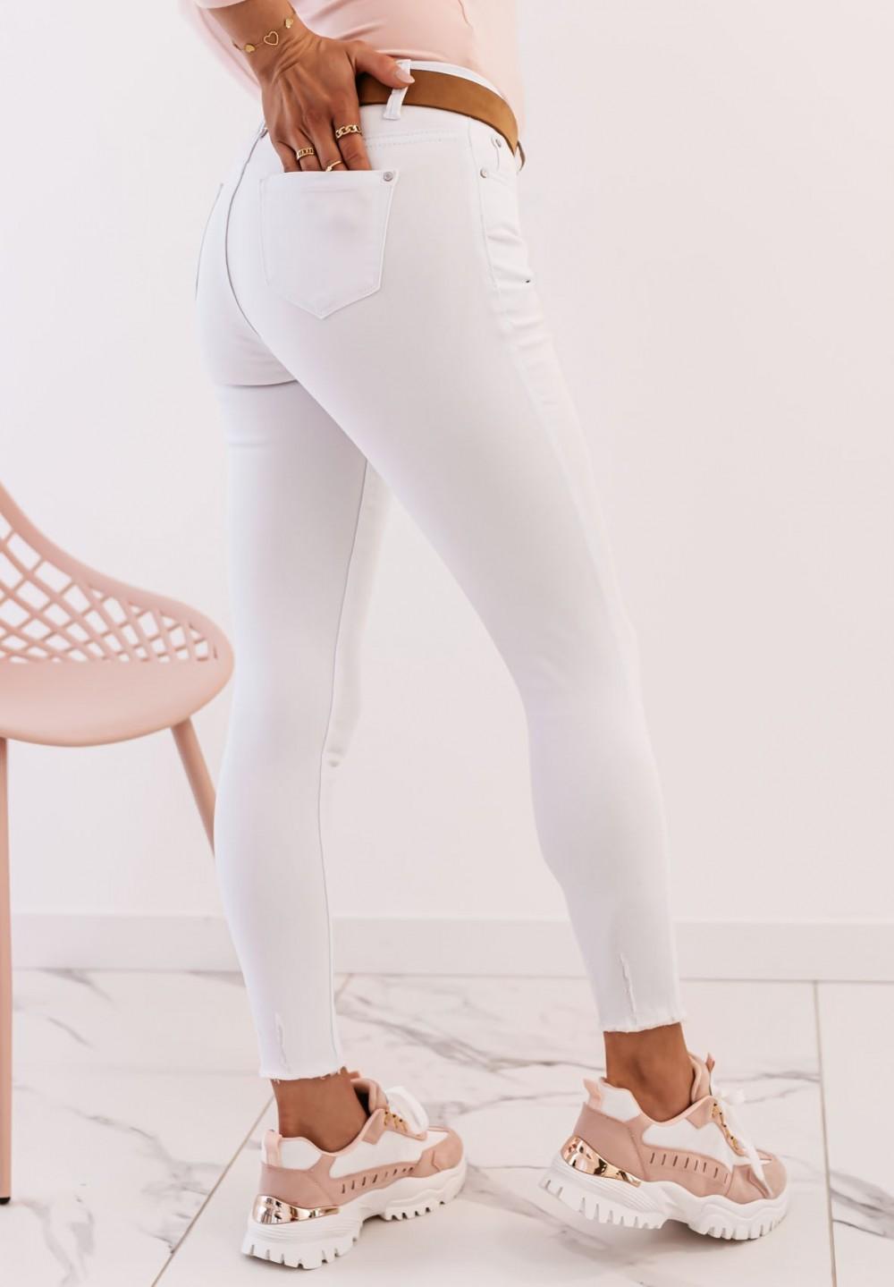 Spodnie Jeansy z Przetarciami Białe Monis