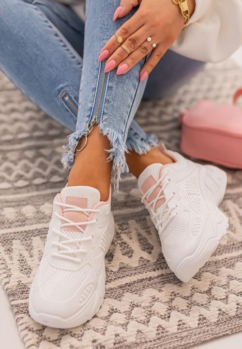 Trampki Sneakersy Sieteczkowe Różowo Białe Werde