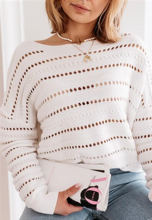 Sweter Ażurowy Biały Destine