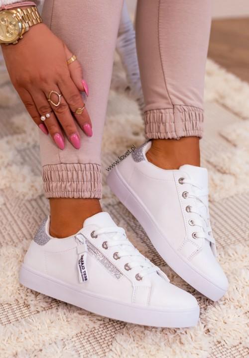 Trampki Sneakersy Brokatowe Wstawki Białe Dolis