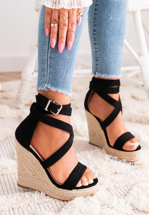 Sandałki na Koturnie Czarne Agostina
