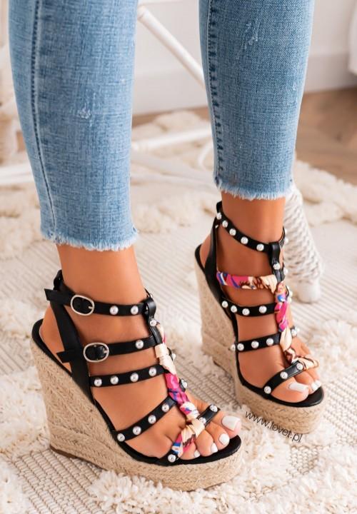 Sandały Zapinane Na Kostce Czarne Francesca