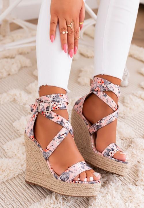 Sandałki na Koturnie Różowe Agostina