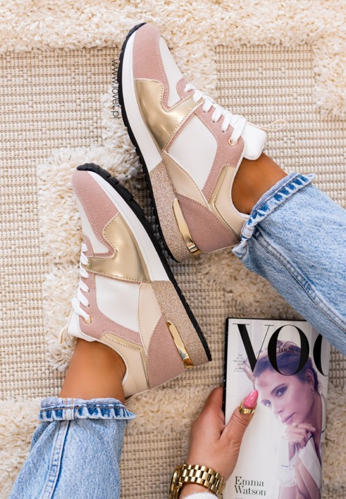 Trampki Sneakersy z Brokatową Podeszwą Galis