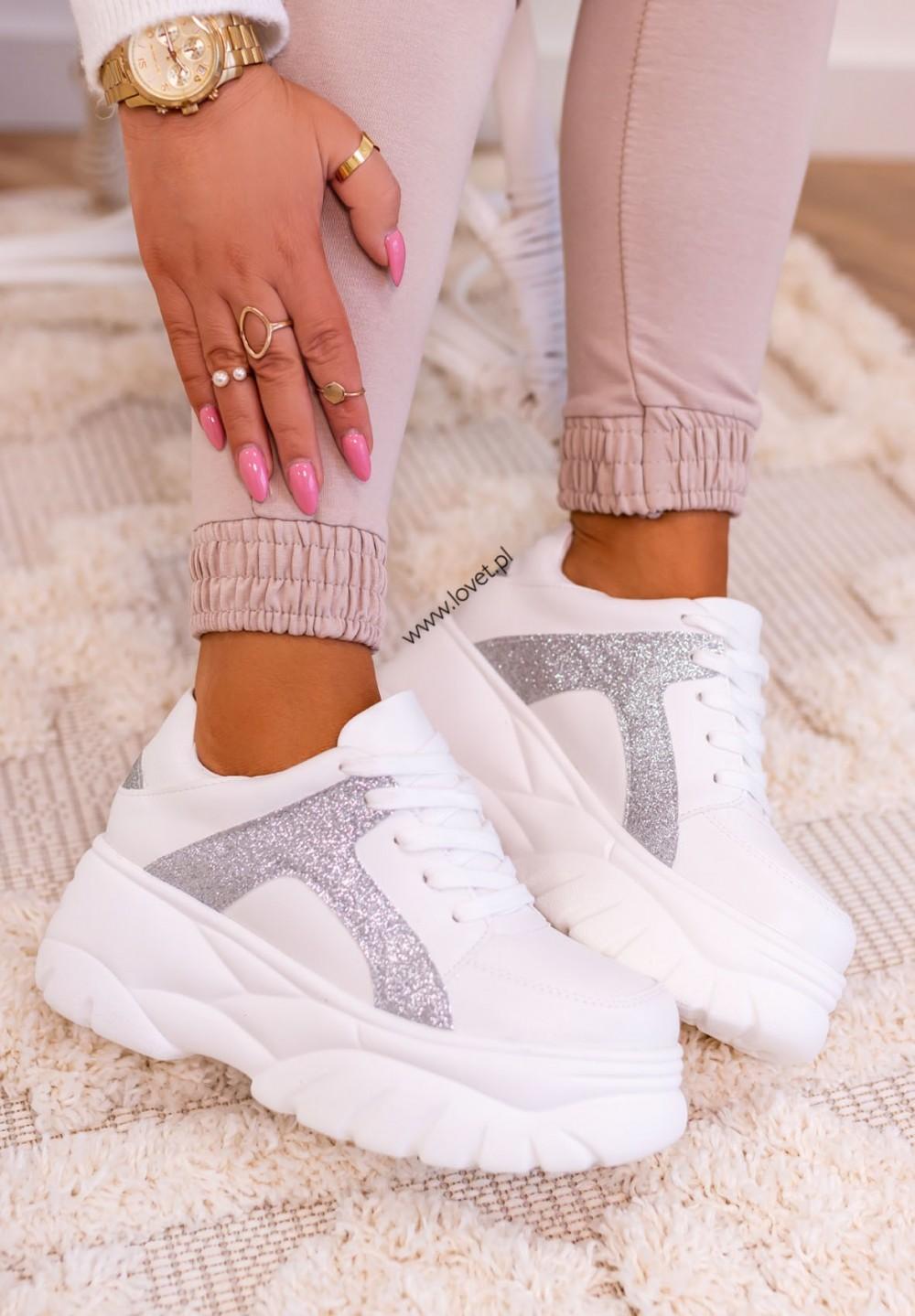 Trampki Sneakersy Brokatowe Białe Alana