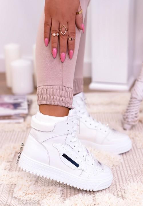 Trampki Sneakersy Wysokie Białe Aina